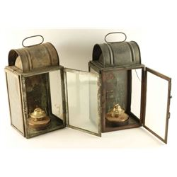 Collection of 2 Antique Ships Lanterns