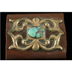 Navajo Turquoise & Silver Leather Wrist Cuff