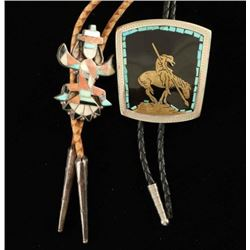 Lot of 2 Navajo Inlaid Bolo Ties