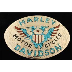 Turquoise Inlaid Harley Davidson Buckle