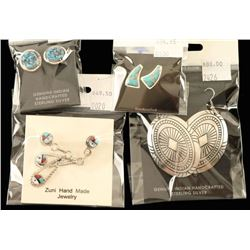 Four Pairs Sterling Silver Earrings