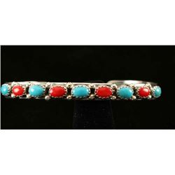 Turquoise & Coral Silver Ladies Bracelet