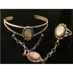 Sterling & Mother of Pearl Slave Bracelet