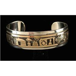 Navajo Gold & Silver Storyteller Cuff Bracelet