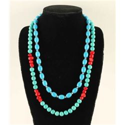 Lot of 2 Turquoise Magnesite & Silver Necklaces