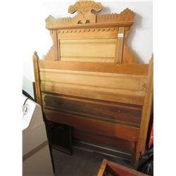 Antique Oak Head Board and Foot Board