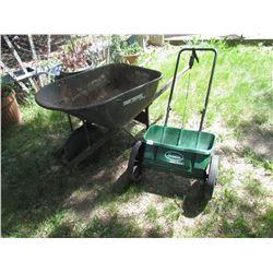 Wheel Barrow and Lawn Fertilizer spreader