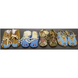FOUR PAIR PLAINS BABY MOCCASINS