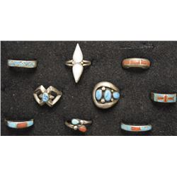 EIGHT NAVAJO RINGS