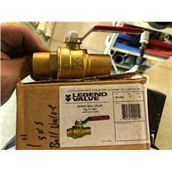 "NEW Legend 101-045 1"" Brass Ball Valve With Copper Solder Ends (CXC)"