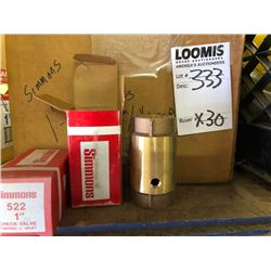 """NEW Simmons 522 1"""" Brass Check Valve, Tapped 1/8"""" Inlet"""