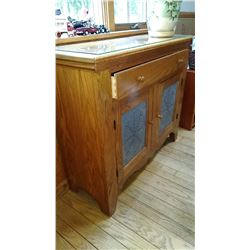 Wood Dry Sink Cabinet w Tin Designed Doors