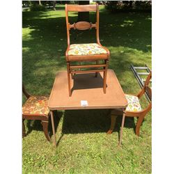 BUNDLE LOT: Card Table w/ 4 Chairs, Folding Chairs (2)