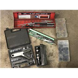 Large Lot Asstd. Socket, Wrench Set, Tool Box