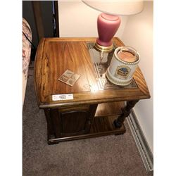 2 Oak End Tables w/ Glass Insert on Top