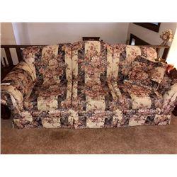 BUNDLE LOT: Floral Design Sofa, Table, Clock