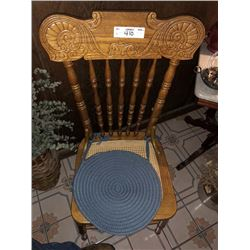 Wooden Spindle Back Chairs, w/ Cane Seat (3)