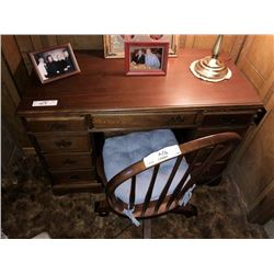Antique Desk, and Chair w/ Wheels