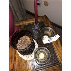 Candle Holder Lot, Red Glass Vase