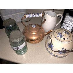 Copper Kettle, Mason Jars, Pitcher, Danish Teapot