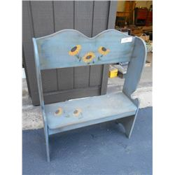 Wooden Bench w/ Hand Painted Sunflowers