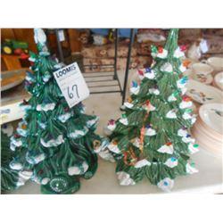 2 Hand Made Ceramic Christmas Trees
