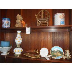 2 Shelf Lot: Plush Teddy Bear, 2 Teddy Bear Tins