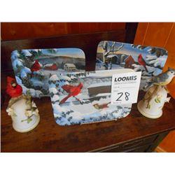 """3 Cardinal Plates """"A Country Wonderland"""" Series, 2 Porcelain Bird Bells"""