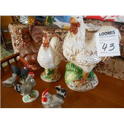 Ceramic Chickens Lot, 7 Pieces