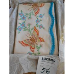 Butterfly and Floral Embroidered Pillow Cases (Pair)