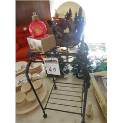 Wrought Iron Stand w/ Rooster Scene and Christmas Bulb