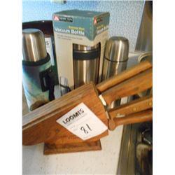 Knife Set, 3 Thermos Bottles