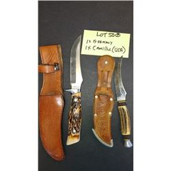 2 Sheath Knives, German w/ Stag Handle