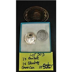 1 Ounce Pure Silver Coin, Eisenhower Silver Dollar, Belt Buckle