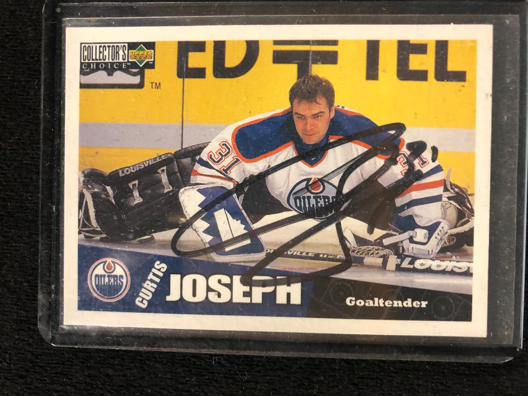 Autographed 1996 97 Collectors Choice Oilers Hockey Card 90