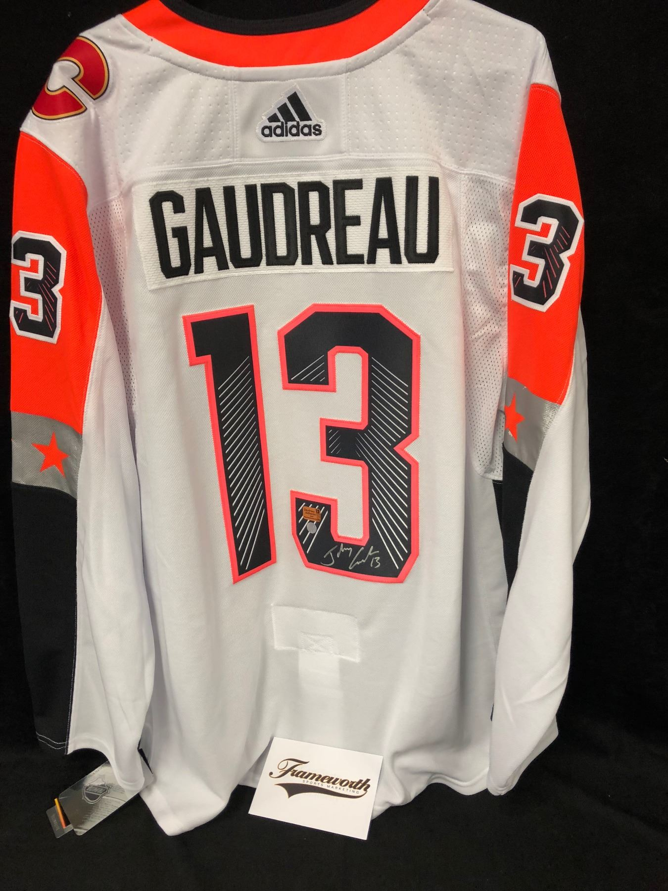 brand new ed9cc 166dc JOHNNY GAUDREAU AUTOGRAPHED NHL ALL-STAR JERSEY W/ FRAMEWORTH COA
