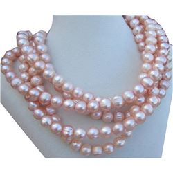 "10-11mm Natual Pink South Sea Pearl 14kt Gold 50"" Necklace 50""14k Gold Clasp"