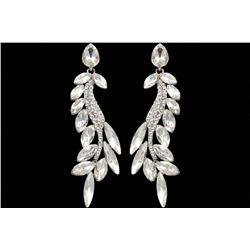 Rhodium Plated Clear Crystal Rhinestone Wedding Drop Earrings