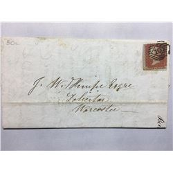 1854 London Original Postmarked Handwritten Envelope and Letter