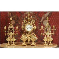 c1890 Japy Freres French Gilt Clock Set