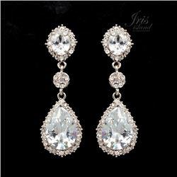 Rhodium Plated Clear Crystal Rhinestone Drop Dangle Earrings