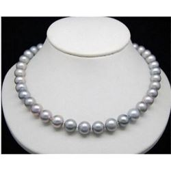 "18"" Aaa 9-10mm South Sea Genuine Gray Pearl Necklace 14k Clasp"