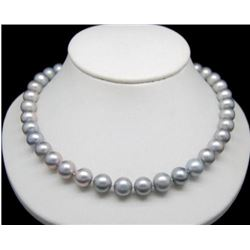 "9-10mm Natural Gray South Sea Pearl 14kt Gold 18"" Necklace"