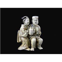 19thc Signed Meiji Period Ivory Netsuke, Man & Geisha