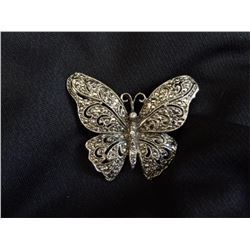 Vintage Silver Marcasite Butterfly Brooch