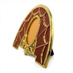 """6.5"""" x 1.75"""" Faberge-Inspired Red Enameled Guilloche Semicircular Russian Antique Style Picture Fram"""