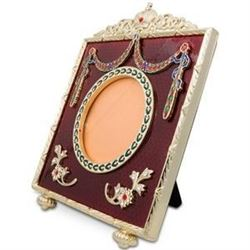 """5"""" Faberge-Inspired Square Red Enameled Guilloche Russian Antique Style Picture Frame"""