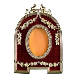 Red Enameled Semicircular Russian Royal Faberge-Inspired Picture Frame