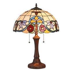 "ADELE Tiffany-style 2 Light VictorianTable Lamp 16"" Shade - Table Lamp"