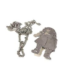 Darling Rag Doll Sterling Silver Pin with Necklace Chain